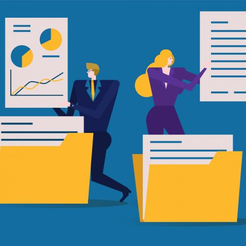 Business people is folding and sorting documents or into folders. flat design elements. vector illustration